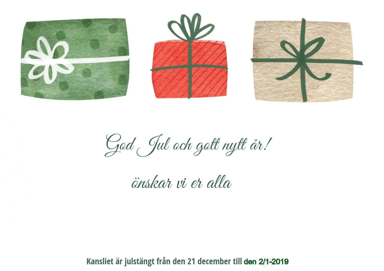 God Jul önskar NKK
